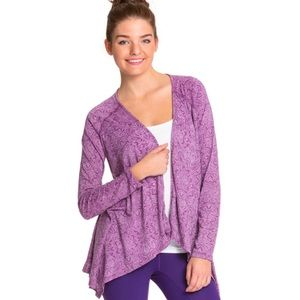 Prana purple open front cover up/cardigan